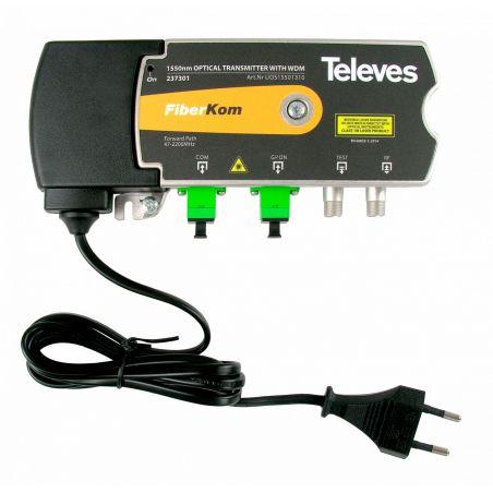 Transmissor/multiplexador óptico 1550nm SC/APC 1310/1490nm Televes