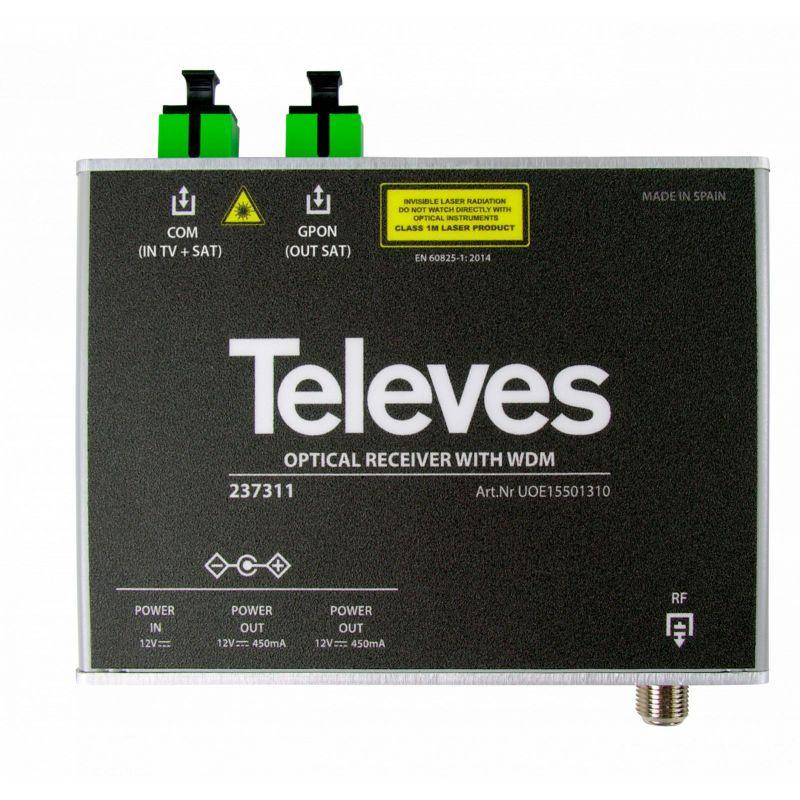 Récepteur/Démultiplexeur optique 1550nm SC/APC 1310/1490nm Televes