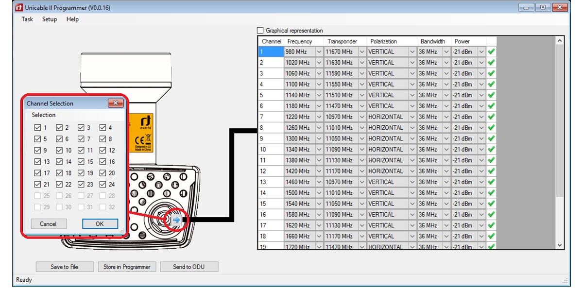 Unicable II™ LNB configuration screen