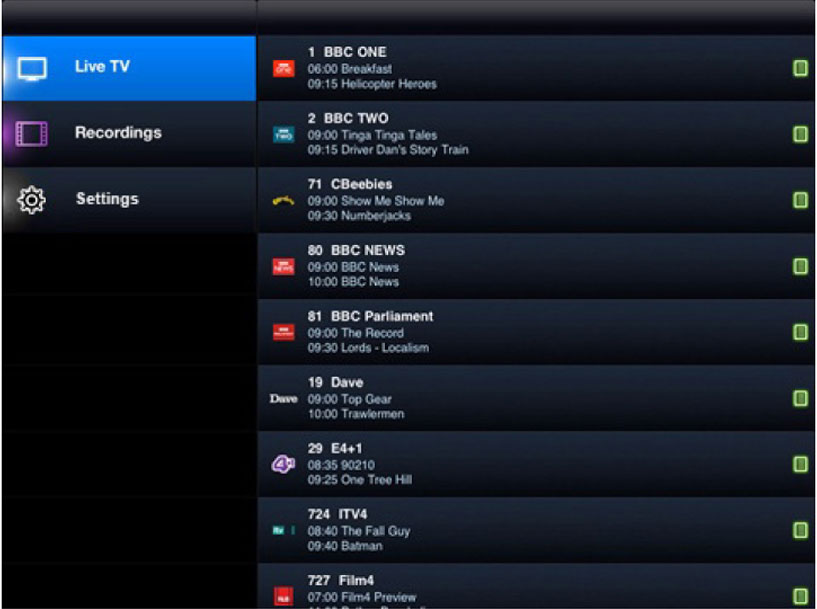 View EPG to check for TV Program Guide